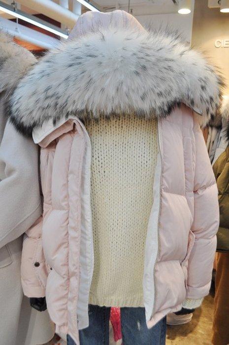 EVA精緻坊【韓國衣飾】【俏麗配色大毛領羽絨中長版外套】5700 卡其現貨