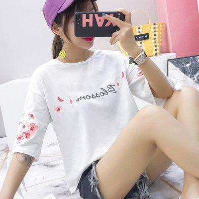 夏裝新款短袖t恤女學生寬松百搭白色刺繡上衣女夏