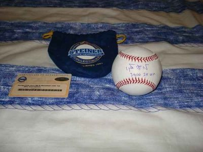 "MLB DODGERS ACE 郭泓志親筆簽名球加簽""1st Win 9/8/06"" 首勝紀念~~STEINER"