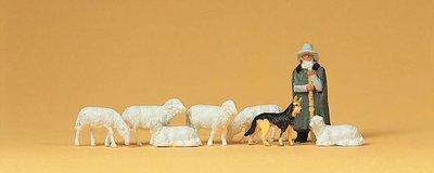傑仲 (有發票) 博蘭 公司貨 Preiser 人物組 Shepherd with flock 14160 HO
