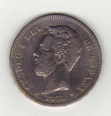 8K-242  西班牙1871(71)年SD-M記.5Pesetas銀幣 品像美.好物件.mintage13641.
