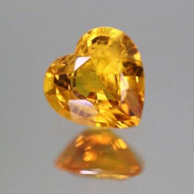 【限定優惠】0.76ct 火光超強!飽滿橙黃色愛心!罕見心型黃寶石 Yellow Sapphire 淨度高!