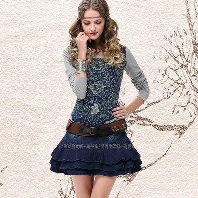 棉質牛仔藍黑色裙蛋糕裙復古刺繡荷葉邊蓬蓬裙韓版牛仔半身裙精品服裝新款俏麗歐美時尚百搭短裙~X3022