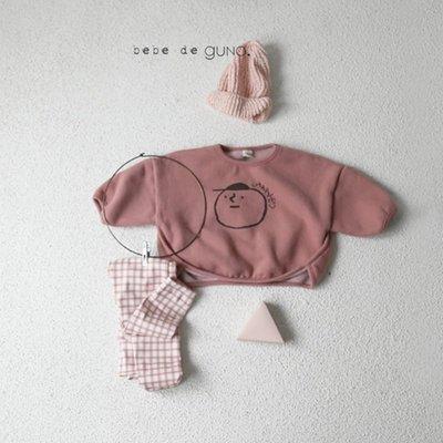 笑臉圖案兒童嬰兒上衣 灰色 粉紅色 啡色 韓國製造