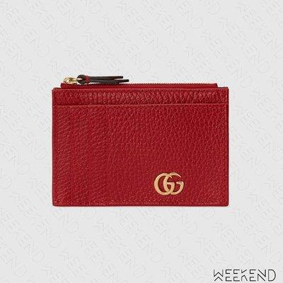 【WEEKEND】 GUCCI GG Marmont 拉鍊 皮夾 短夾 卡夾 零錢包 紅色 574804