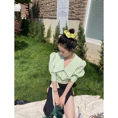 〖七月衣鋪〗 ICELOLLY 綠色法式娃娃領襯衫女夏潮新款設計感小眾短款泡泡袖上衣SF52