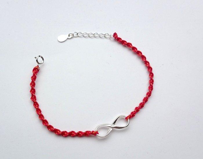 [Le Bonheur Line] 幸福線 手工/編織款 紅橘配 925純銀 無限/ 設計 紅線手鍊 飾品 愛無限 銀飾