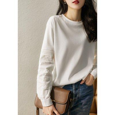 XG 點睛蕾絲鏤空拼接 細膩舒適全棉長袖上衣 T恤