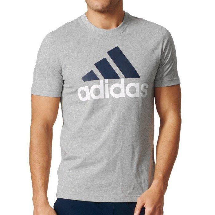 【AIRWINGS】ADIDAS S98738 男性灰色ESSENTIALS基本款LOGO短袖T恤