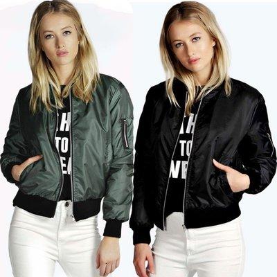 GOGO SHOP☆╭韓版熱賣超火 防風棒球夾克飛行外套 時尚拉鏈立領純色短款外套【Y1840】S~XL女棒球服外套