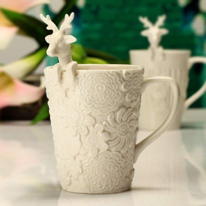 【奇滿來】可愛蕾絲毛線 浮雕陶瓷杯 創意麋鹿勺 馬克杯子 帶蓋帶勺 立體造型浮雕杯 奢華宮廷杯 聖誕節交換禮物 AUAG