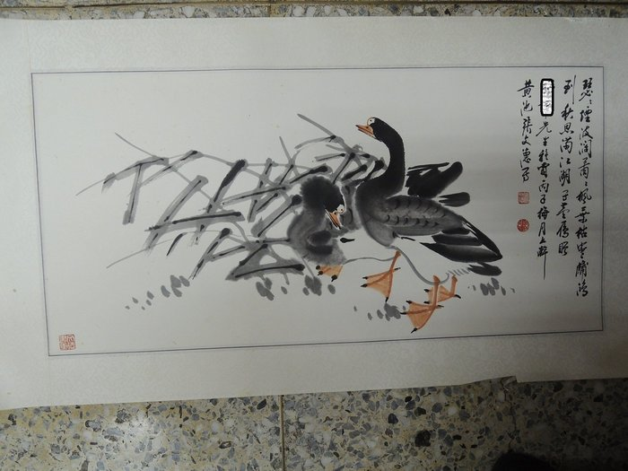 【練家字畫店~收購劉文西字畫】張文德,雁鳥, 設色水墨畫作品
