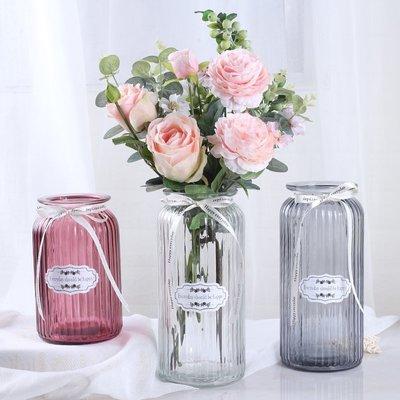歐式花瓶【三件套】玻璃透明花瓶歐式水培綠蘿植物花瓶客廳擺件百合插花瓶