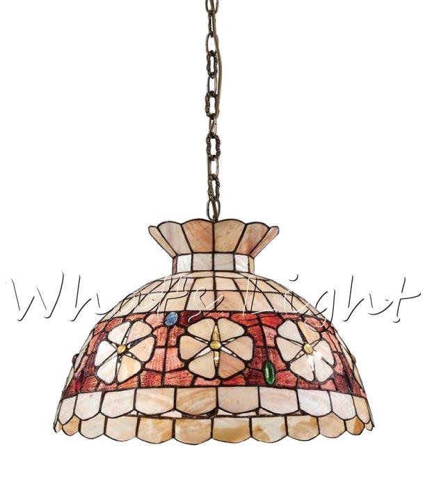 划得來LED燈飾~設計師的燈 歐風質感 第凡內吊燈 E27*2 鄉村風餐廳吊燈 手工貝殼 42公分 B3681 含稅