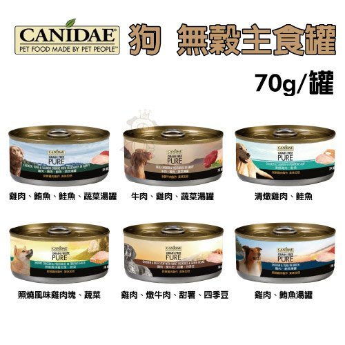 【12罐組】美國《CANIDAE 犬用無穀主食罐》鮮肉製作、未加工原料、多種口味 70g/罐