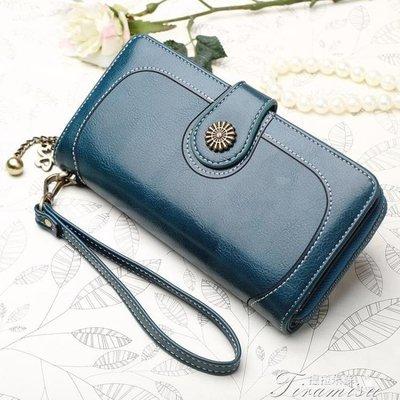 ZIHOPE 新款韓版油皮錢包女長款手拿包零錢復古女士多功能手機拉鍊包ZI812