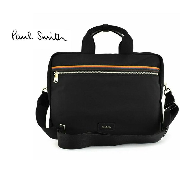 Paul Smith  ( 黑色+彩色條紋 )  帆布尼龍×真皮 手提包 後背包 肩背包 多用法貪心包 中性款|100%全新正品|特價!