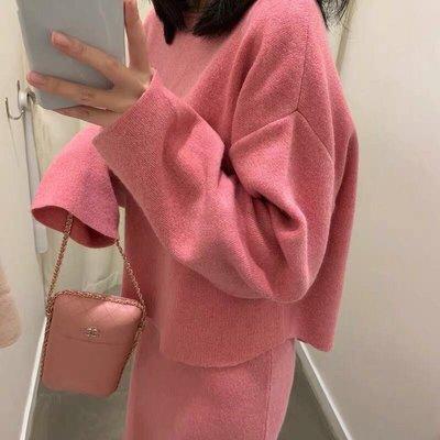 【2A Two】秋慵懶感💕莓粉顯瘦針織上衣+針織裙 套裝   S胸圍116 m胸圍120