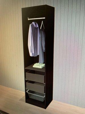 IKEA PAX系列衣櫃 衣櫥 含抽屜 網籃 層板 吊衣桿 50x58cm專用內部配件 黑棕色 不含櫃框