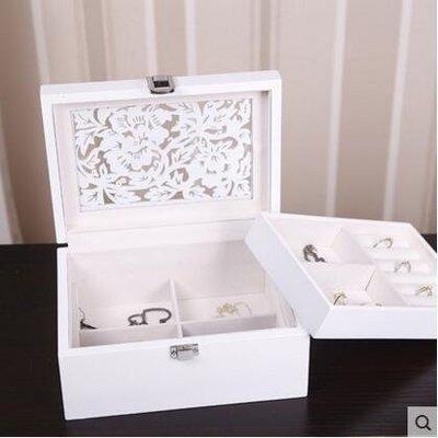 【優上】蕭佳首飾盒木質飾品收納盒單層天窗實用「鏤空雕花」