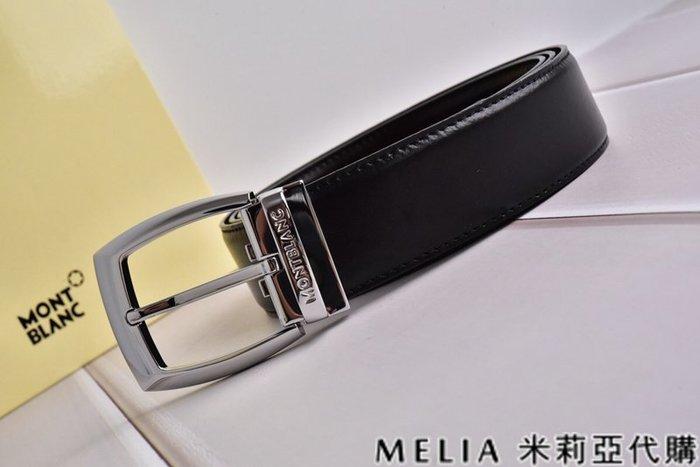 Melia 米莉亞代購 美國精品代購 Montblanc 萬寶龍 皮帶 腰帶 大方頭針扣 銀色 純鏡面打磨 包裝齊全