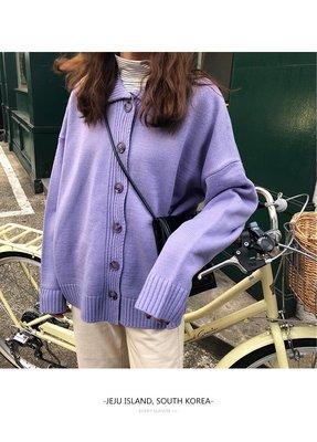 VSVSHOP♥實品照 寬鬆清新疊穿搭配針織開衫 毛衣外套 (黑/杏/紫) P99102