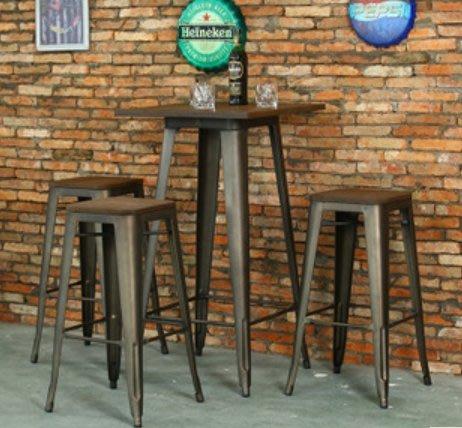【南洋風休閒傢俱】吧台桌椅系列--復古懷舊風高吧餐桌椅組  木板烤漆吧椅 JF476-2