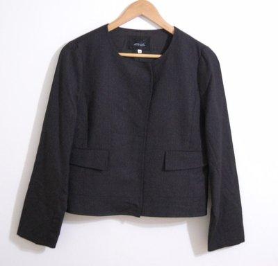 ☆全新百貨專櫃☆【Ginkoo 俊克】☆圓領細格紋100%羊毛外套 -40號(XL)