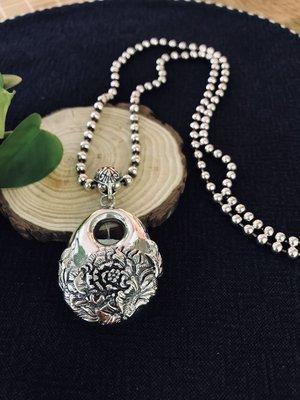 加恩純銀純手工很復古工藝花開富貴吊墜長鏈圓珠鏈送朋友生日禮物 情人節禮物-jen123