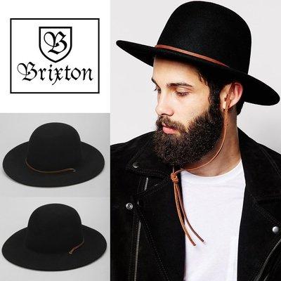 美國 加州 BRIXTON TILLER HAT BLACK 黑色 純羊毛 紳士帽 100% WOOL 純牛皮帽繩
