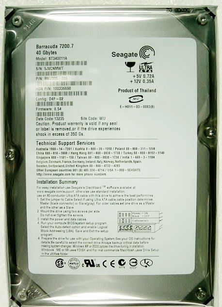 保固 1年【小劉硬碟批發】全新庫存有靜電袋 SEAGATE、WD  3.5吋 40G IDE 7200轉 電腦硬碟