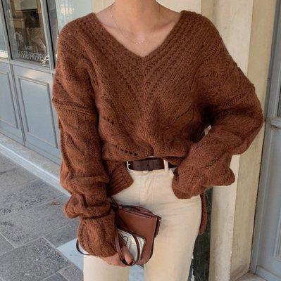 YOHO 長袖毛衣 (19JHL1216-6) 韓國同款慵懶風大V領麻花紋毛衣 針織衫 寬鬆 有3色