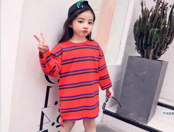 *蜜寶貝* 全新-中小女童-女童衛衣中長款條紋上衣5310283 尺寸90-140CM 約2-9歲-0021