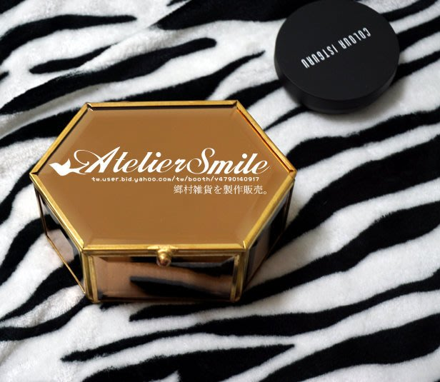 [ Atelier Smile ] 鄉村雜貨 北歐風 金色玻璃首飾盒 桌面收納 鏡面首飾盤 六邊形 (現+預)