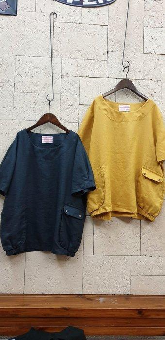 蘋果樹 韓國服飾~hub立體雙袋麻衫 下襬二側有鬆緊帶