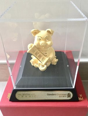 100% new 24K金【Just Gold】6.5cm高 金豬 包原紅色禮盒 gold pig with red gift box