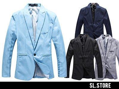 SL Store【SCX07】紳士休閒質感單釦素面修身西裝外套‧黑/天藍/丈青/灰/XL/2XL/3XL