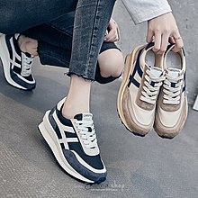 EmmaShop艾購物-正韓同步上新-復古奶茶麂皮厚底阿甘鞋/休閒鞋/包鞋