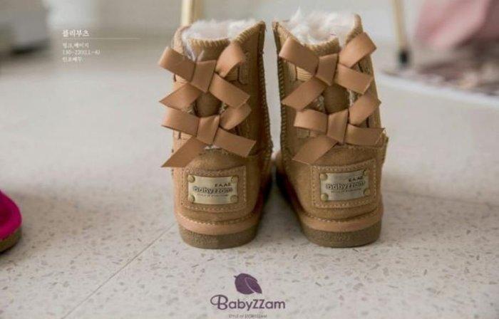 『※妳好,可愛※』韓國童鞋 Babyzzam~經典蝴蝶結鐵牌雪靴 靴子 兒童靴子 兒童雪靴 (2色)