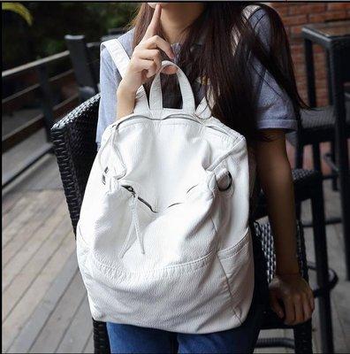 【J.M】2017簡約雙肩包女軟皮新款韓版百搭單肩兩用書包大休閒旅行背包 白色 黑色二色可選,大小二個尺碼