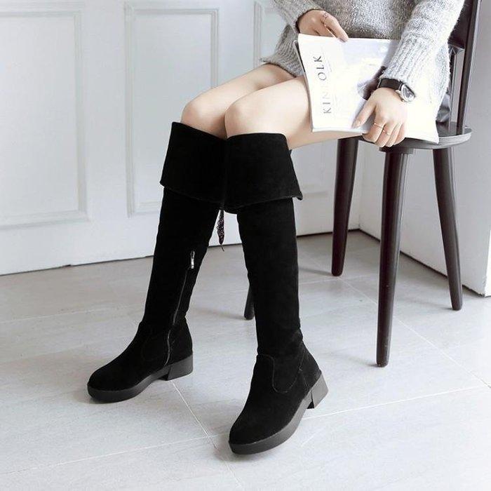 日和生活館 歐美秋冬平底過膝長靴顯瘦高筒靴女粗跟磨砂真皮女靴平跟長筒靴子 644D88