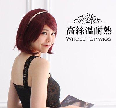 假髮【WWS212】短髮斜瀏海 全頂式 高絲溫卡絲 耐熱卡絲 韓式假髮 仿真髮 高溫絲-收納女王
