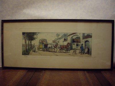 歐洲古物時尚雜貨 老英國 限量 作者簽名 人物馬車長框掛畫 擺飾品 古董收藏