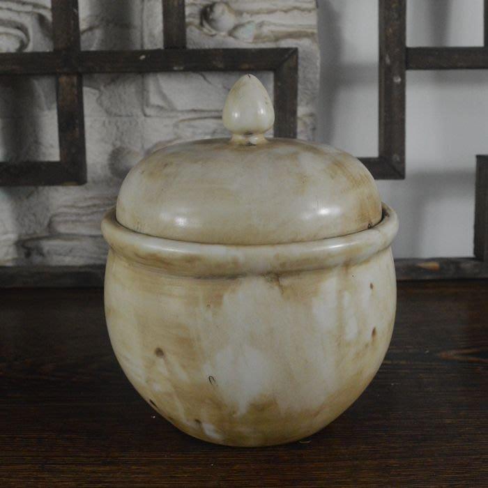 百寶軒 景德鎮仿古瓷器復古清乾隆風格白釉蓋罐茶葉罐做舊古玩擺件 ZK2100