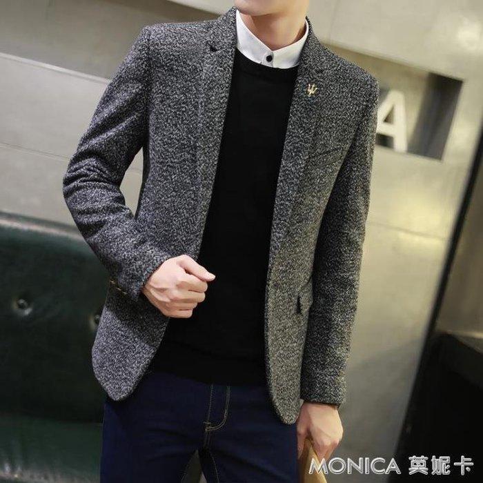 秋冬加厚韓版男士休閒西服上衣外套青年英倫修身毛呢單小西裝厚款