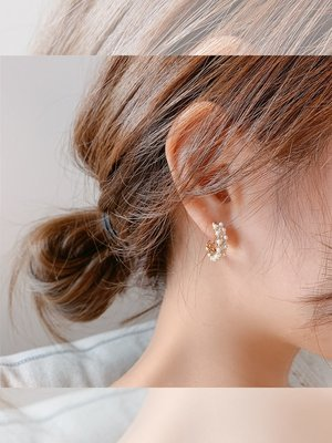 My fit guys 氣質 立體花環 珍珠 耳環 耳圈 耳飾 飾品 水鑽 預購