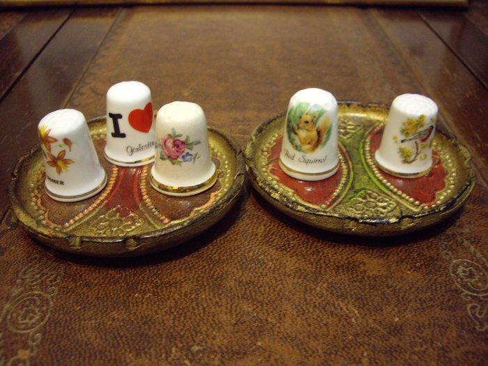歐洲古物時尚雜貨 骨瓷頂針 造型頂針  花卉 動物 縫紉飾品 指套 擺飾品 古董收藏 一個250元