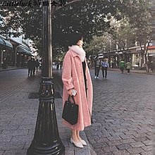 Littleluck~女裝2019冬季新款仿水貂絨毛呢外套女裝中長款秋冬赫本小個子呢子大衣