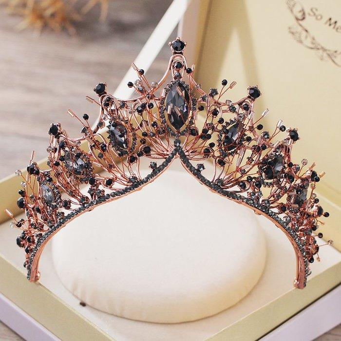 FEI日韓代購~2019新款新娘頭飾皇冠大氣復古水晶王冠結婚晚宴髪飾生日成人王冠
