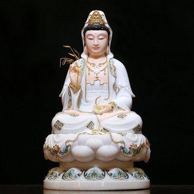 【睿智精品】漢白玉佛像 西方三聖 南無觀世音菩薩 觀音菩薩 法像莊嚴(GA-4167)